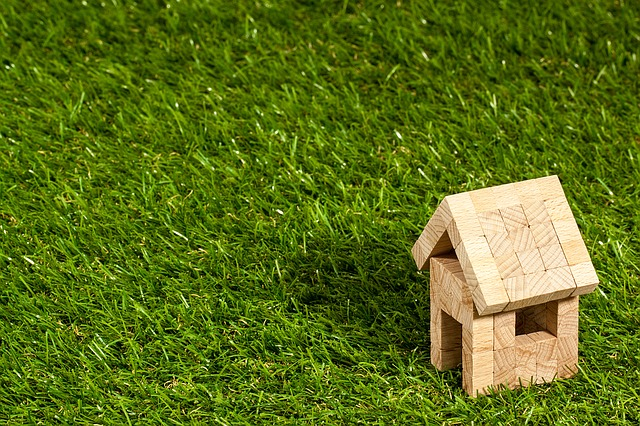 trávník s domkem