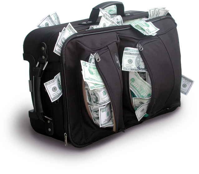 taška plná peněz