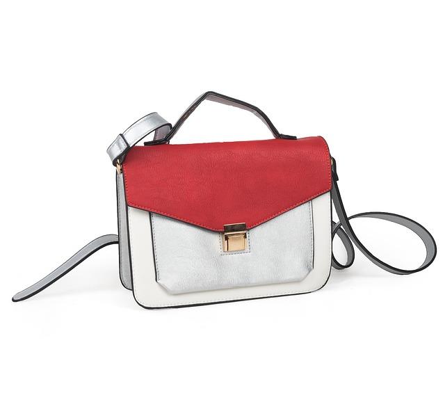 červeno-bílá kožená kabelka